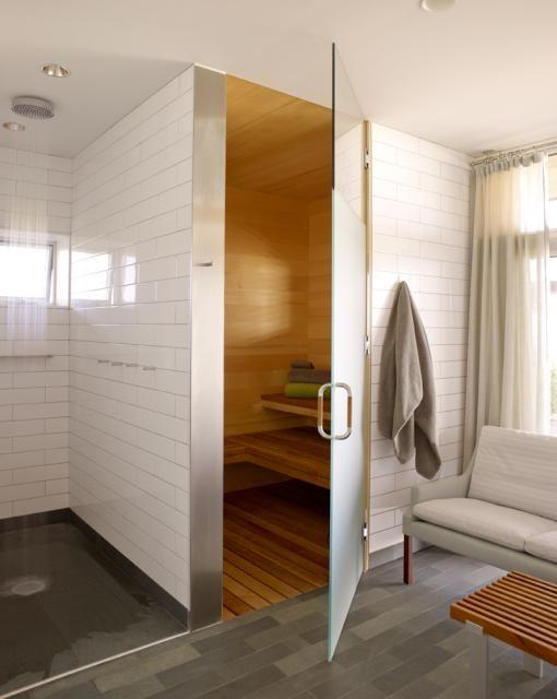 Witte Landelijke Badkamer ~ Jacuzzi, sauna of stoomcabine in de badkamer