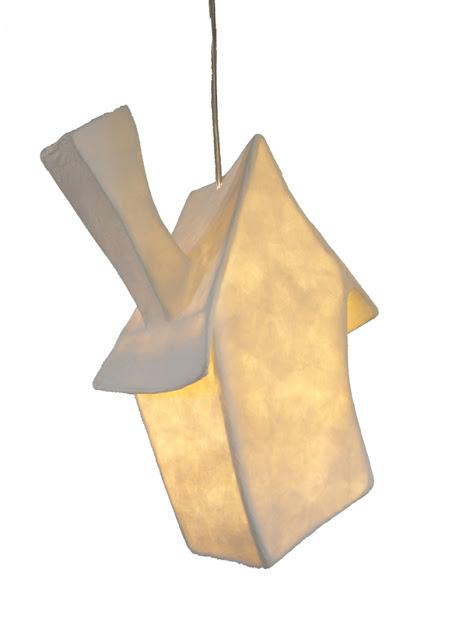 lamp van papier huisje
