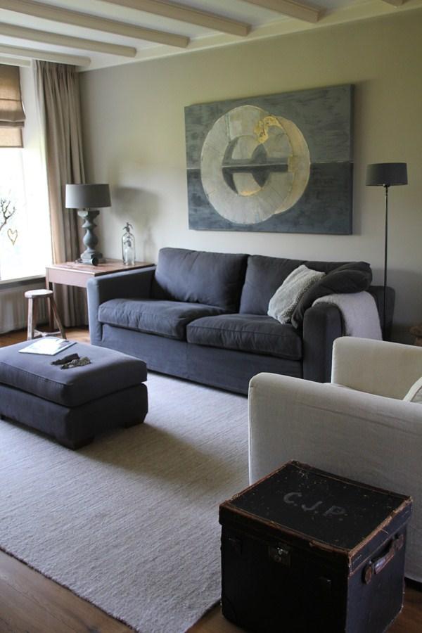 landelijke woonkamer in grijstinten
