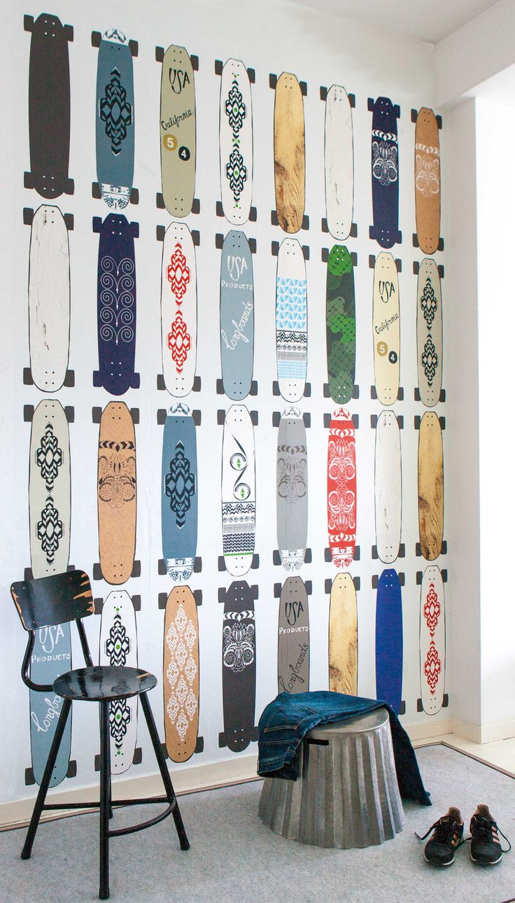 behang met skateboards behang voor jongens
